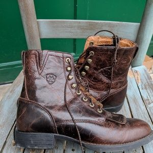 Ariat ATS Brown Leather Lace Up Boots Size 7.5B
